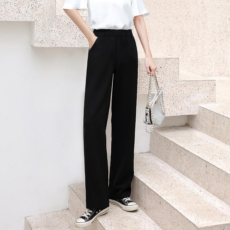 坠感阔腿裤女显瘦拖地长裤宽松高腰垂感黑色直筒西装薄款夏季裤子