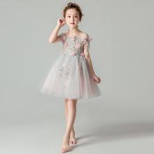 女童公主裙9n2蓬纱(小)女na服婚纱宝宝主持的演出服晚礼服洋气