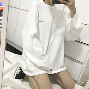 春秋装韩版中长款长袖T恤女宽松显瘦百搭白色打底衫女学生bf上衣