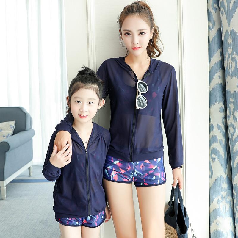 韩国亲子泳衣母女三件套分体平角女童儿童游泳衣温泉小香风家庭装