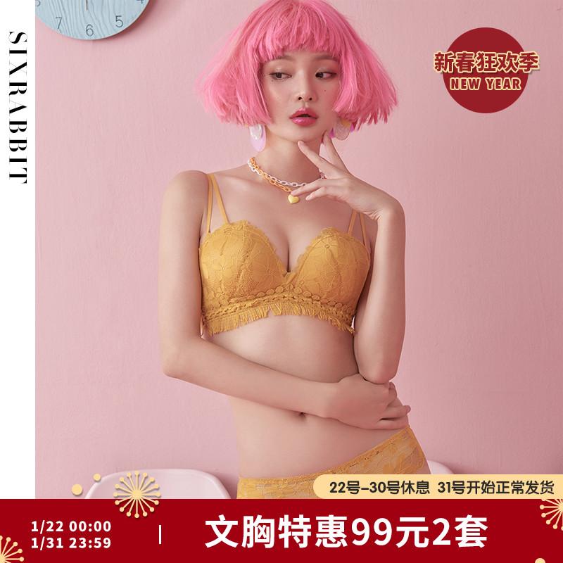 【99元2套】六只兔子性感文胸内裤套装女生蕾丝小胸聚拢内衣胸罩