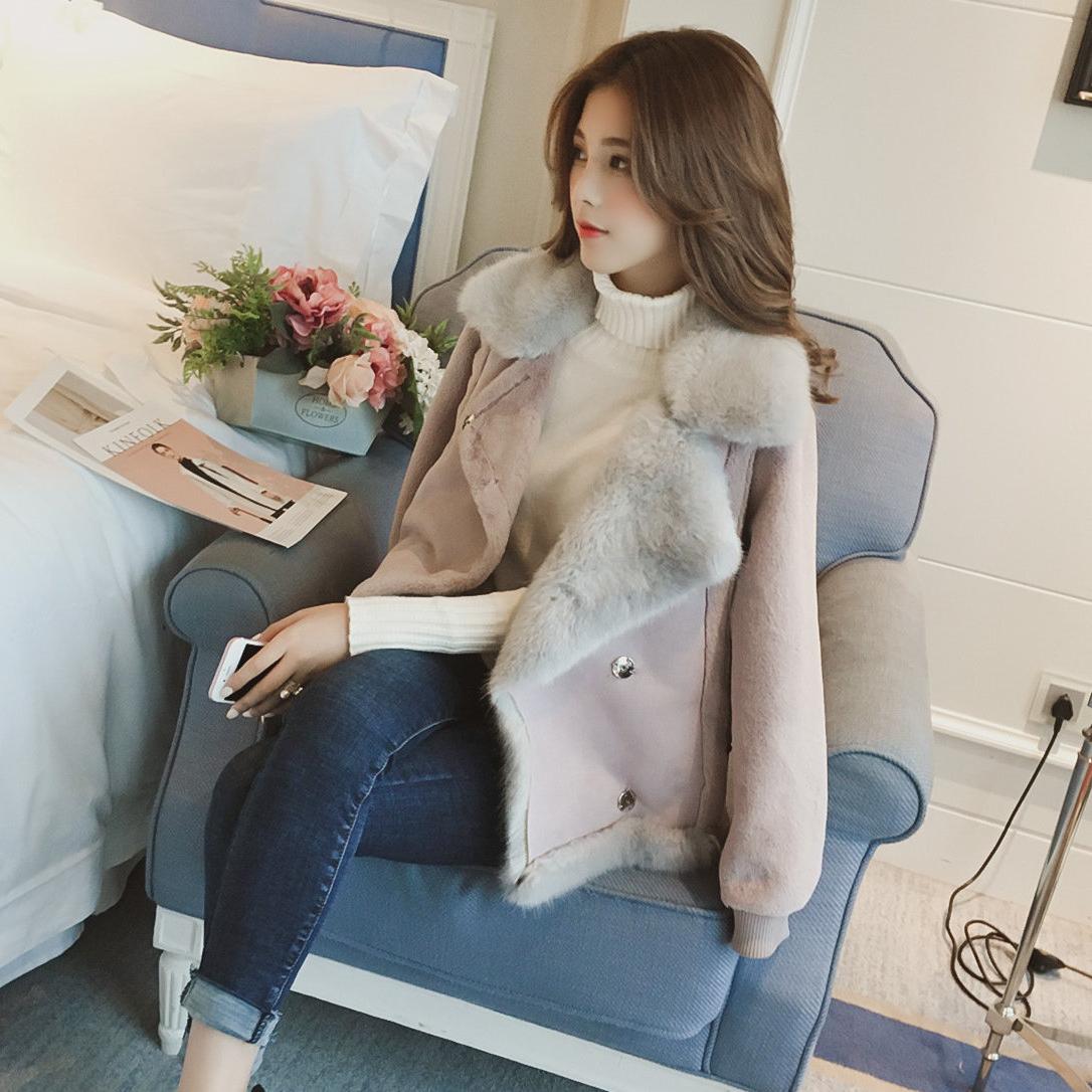 2018冬季新款皮毛一体机车短款麂皮绒羊羔毛外套女毛绒绒棉衣夹克