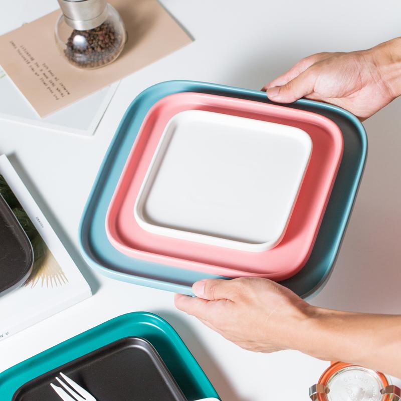 家用 菜盘 盘子金边陶瓷披萨平盘水果沙拉盘碟子 ins网红餐具北欧