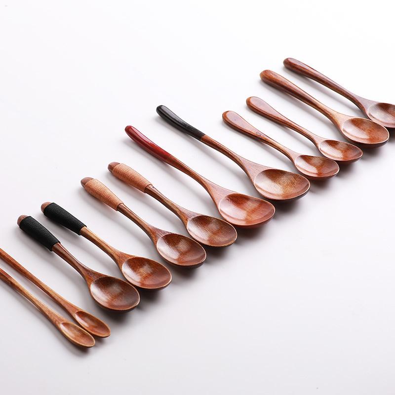 实木勺子长柄小木勺韩式木质蜂蜜勺日式木头勺子吃饭用木质小勺子
