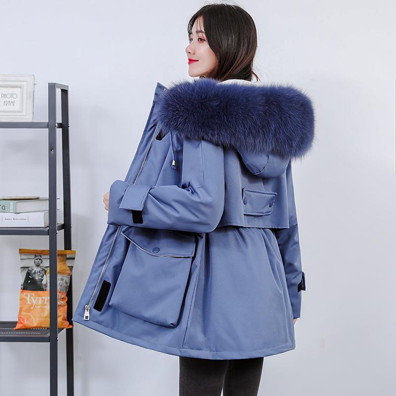 韩版连帽羽绒服女中长款宽松派克服大狐狸毛领外套加厚工装羽绒服