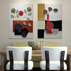 Restaurant background wall decoration painting dining room single painting frameless painting porch mural home decoration relief painting