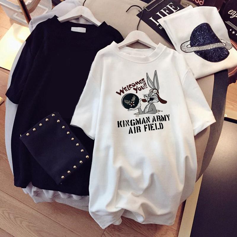 2020新款夏装韩版白色短袖t恤女宽松卡通原宿港风百搭半袖ins潮牌