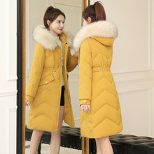 羽绒棉衣棉服女中长款2021新款韩hn14修身冬i2大码外套冬衣