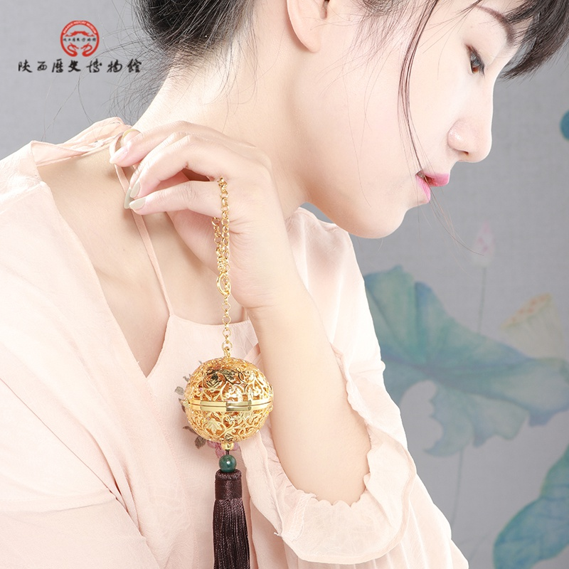 陕西历史博物馆唐葡萄花鸟纹香囊挂件摆件带木架 送女友爱人长辈