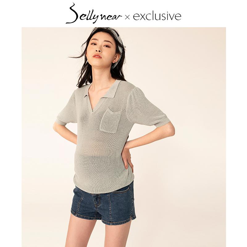 SELLYNEAR孕妇针织衫上装2019新款时尚休闲百搭短T翻领POLO衫