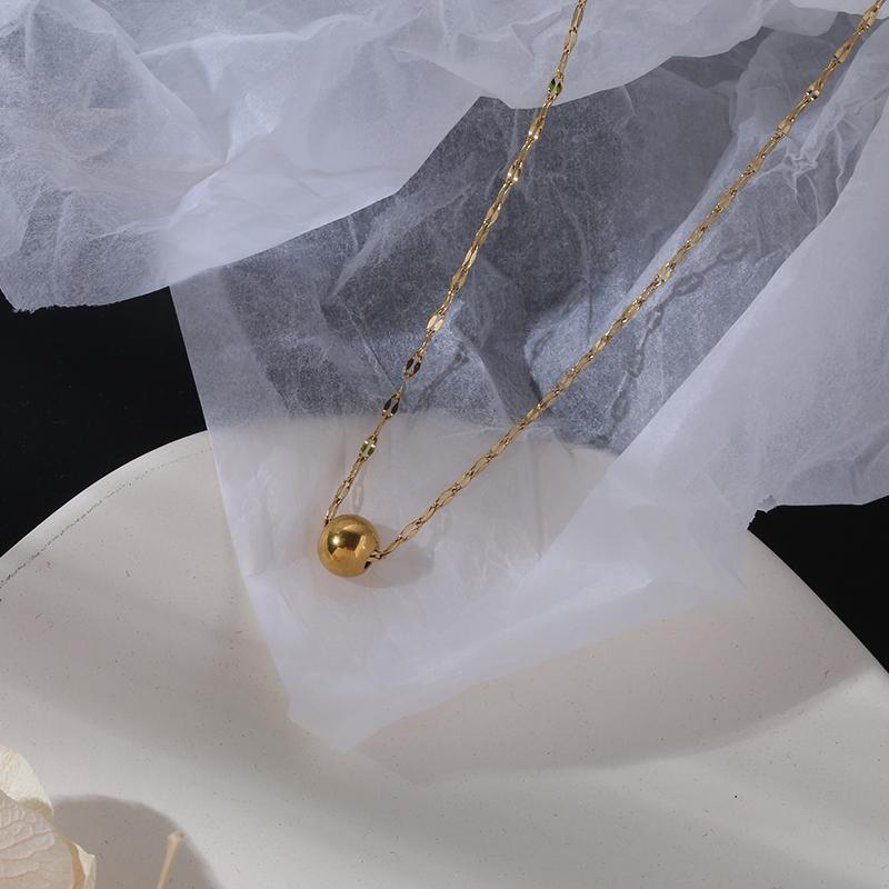韩版简约时尚路路通圆珠项链女钛钢14K包金锁骨链短配饰网红潮人