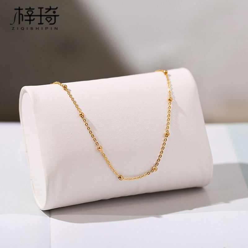 韩版钛钢镀18K玫瑰金小转运珠圆珠脚链女简约时尚百搭足链学生潮