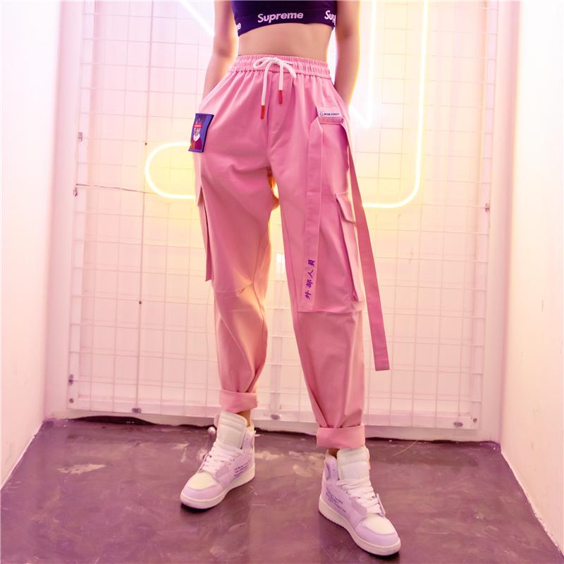 2019春季新款街头嘻哈裤ins超火的裤子直筒工装裤女宽松bf运动裤
