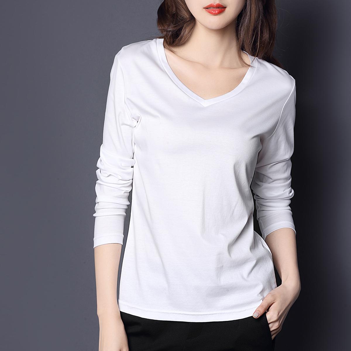秋装新款2017新款修身纯棉V领丝光棉纯白色t恤女百搭长袖打底衫女