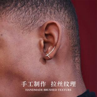 武士刀 925银耳钉男女小众个性设计单只小巧简约学生耳饰情侣耳环图片