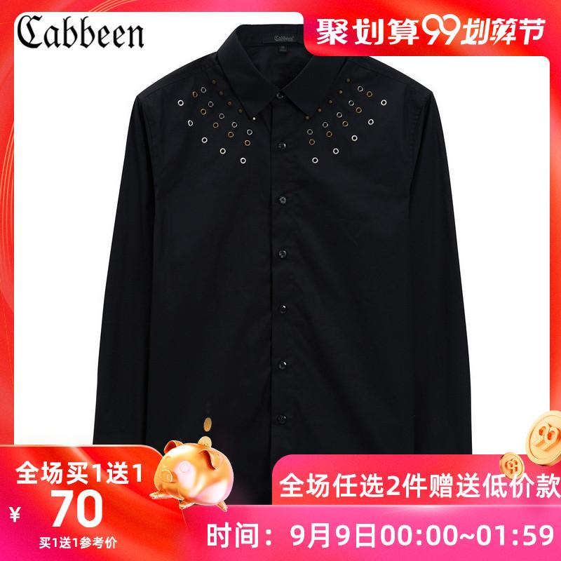 卡宾奥莱黑色翻领长袖衬衫上衣纯棉潮流衬衣秋冬潮男B