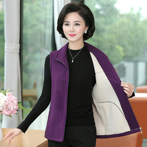 Middle-aged and elderly women's vest casual sports fleece women's autumn sleeveless zipper intimate vest mom clothing