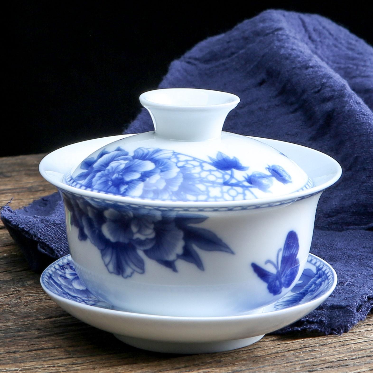 盖碗茶杯 景德镇大号泡茶碗青花瓷手抓三才碗陶瓷功夫敬茶碗茶具