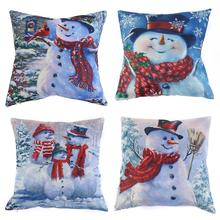 45x45cm Pillow Covers Santa Snowman Rustic Pillow Case Cover