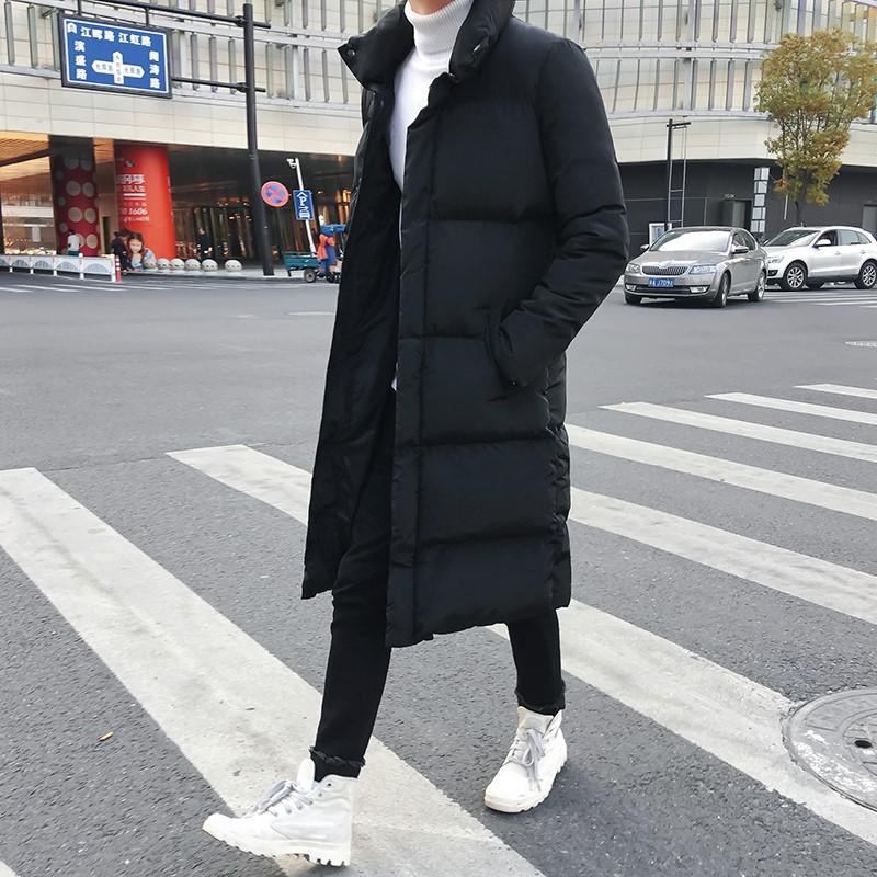 冬季过膝棉衣男外套韩版修身中长款潮流加长加厚羽绒棉服保暖大衣