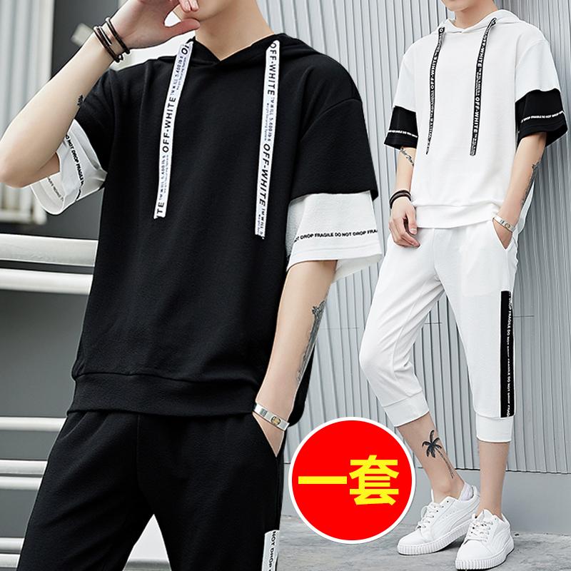 夏季男士短袖t恤套装韩版潮流修身休闲男装半袖两件套夏装衣服男