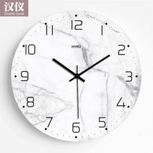 现代简约仿qd2理石钟表md静音个性卧室装饰时钟