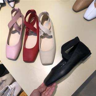 韩国东大门2020春季新款方头交叉带低跟浅口芭蕾女鞋舒适平底单鞋