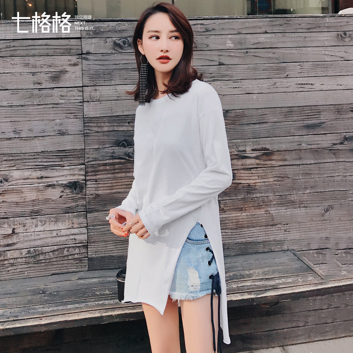 2018秋装新款基本款圆领纯色中长打底衫女圆弧下摆宽松长T恤上衣