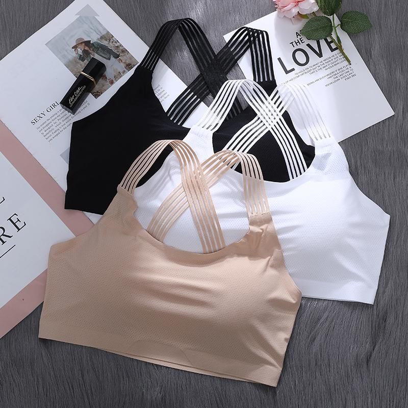 日本班诗诺打造冰丝无痕性感交叉美背内衣裹胸无钢圈零束缚