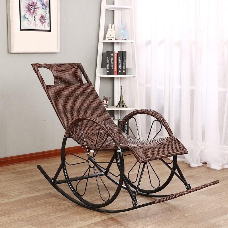竹藤椅简约座椅彩色网红藤条背椅遥椅藤编休闲摇椅逍遥家用椅子