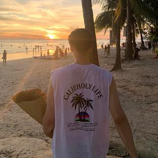 MRCYC夏季男士沙滩坎肩t恤韩版潮流百搭背心夏季宽松无袖打底衣服图片
