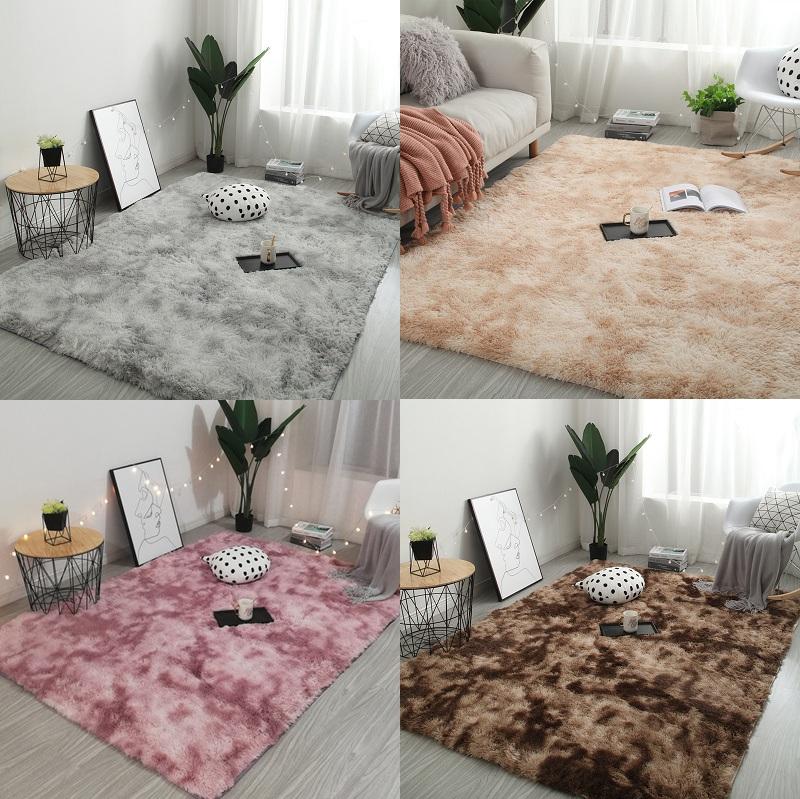 网红同款房间装饰ins风扎染地毯客厅长毛毯地垫卧室满铺可爱床边