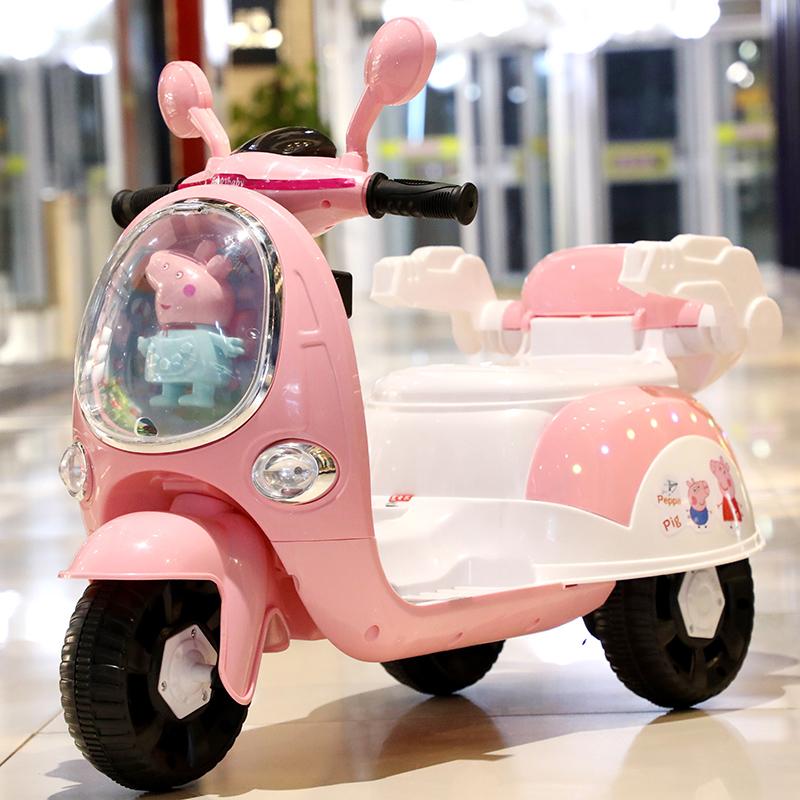 小猪儿童电动摩托车3男女宝宝小孩带遥控三轮车充电瓶5玩具可坐人图片