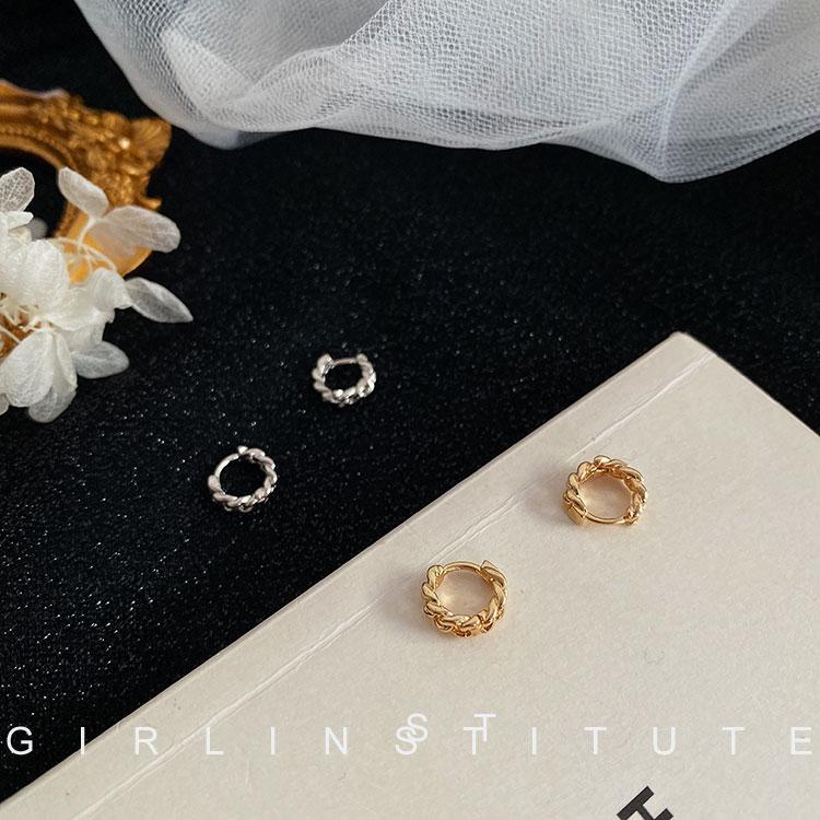 设计感法式复古麻花圆圈耳环女韩国气质网红时尚简约小巧耳钉耳扣