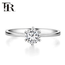 FR Jewelry Diamond Ring Female Genuine White 18K Gold Diamond Ring One Carat Marriage Ring Six Claws Show Diamond Female Ring