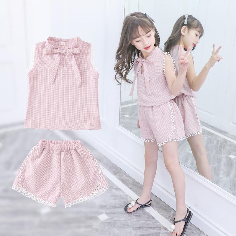童装女童套装2018夏季新款韩版时尚格子潮衣时髦洋气中大童两件套