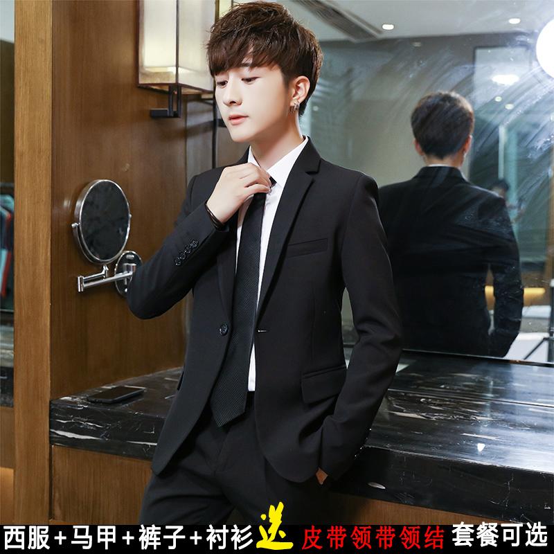 男士西服套装韩版伴郎团礼服修身结婚西装正装休闲黑色职业装外套