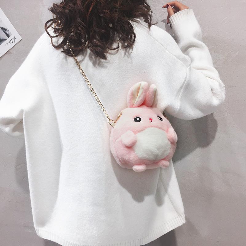 兔子小包包女2019新款卡通可爱儿童迷你包韩版百搭毛绒链条斜挎包