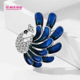 新光饰品蓝色孔雀胸针优雅风衣别针西装衣领针动物配饰毛衣别针