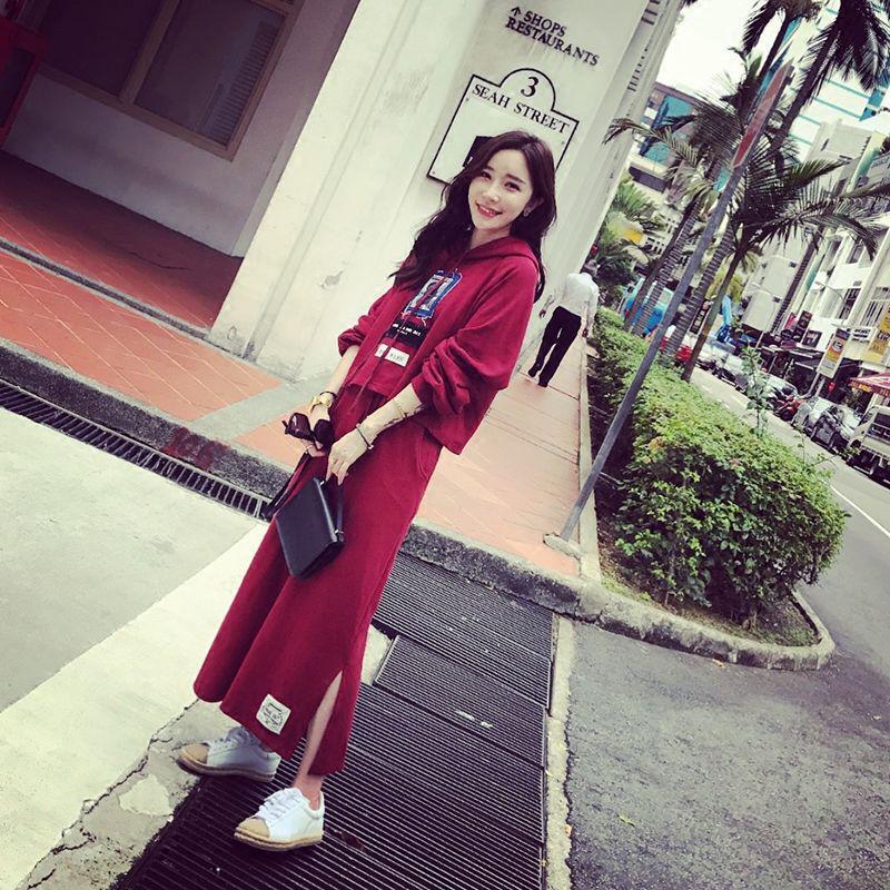 2019春秋中长款连衣裙两件套新款女装韩版长袖卫衣长裙子学生套装