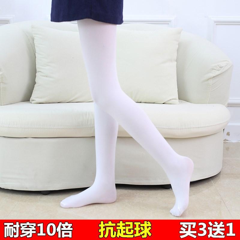 女童连裤袜春秋薄款儿童打底裤女宝宝白色丝袜夏季练功跳舞蹈袜子