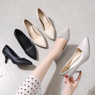 工作鞋女黑色皮鞋空乘高跟鞋春百搭单鞋细跟职业工装面试女鞋小码