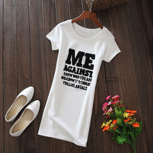 中长式白色T恤女hh5国字母短kx1夏季新打底衫内搭显瘦连衣裙潮
