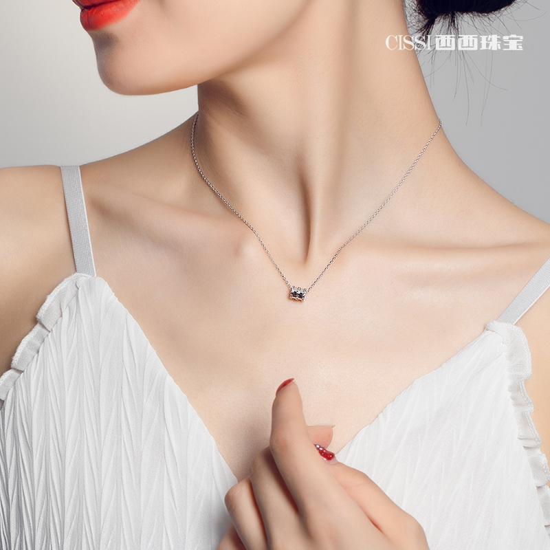 925纯银18k玫瑰金小蛮腰项链女简约锁骨链彩金不褪色转运网红款潮