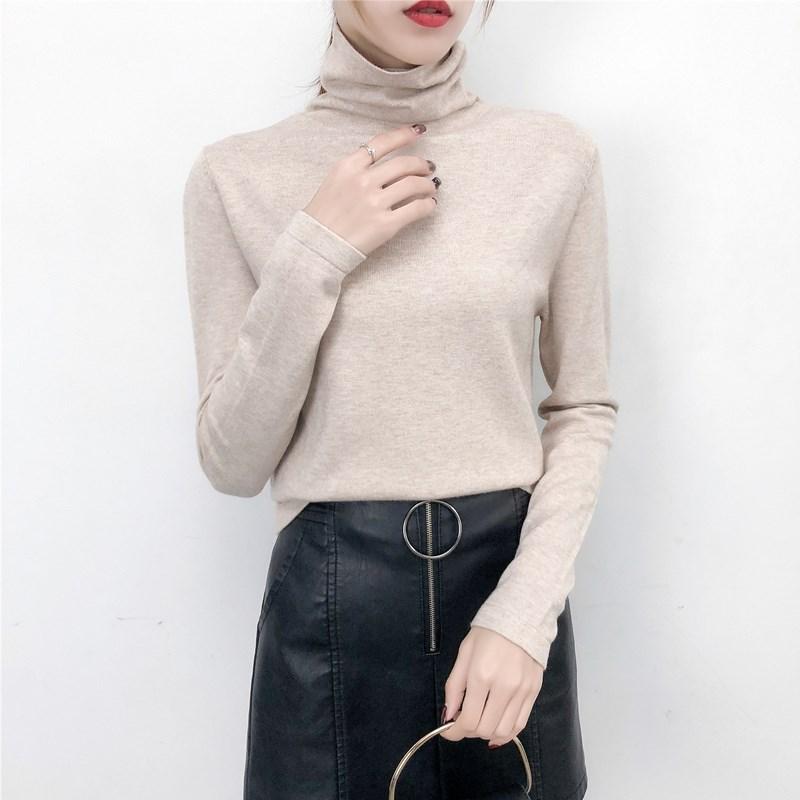 高领加绒加厚毛衣女士内搭秋冬新款2019洋气堆堆领修身针织打底衫
