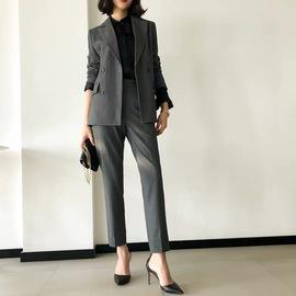 西装套装女秋韩版时尚气质女神范面试职业正装上班灰色西服职业装
