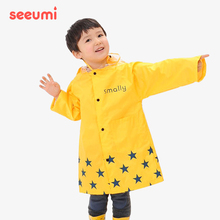Seeumi 1r4国儿童雨1q童儿童无气味环保加厚拉链学生雨衣