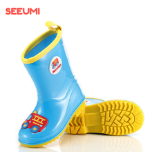 Seeumi轻便bo5软儿童雨ne防滑卡通男童女童宝宝学生胶鞋雨靴