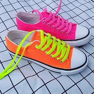 荧光色纯色帆布鞋女手绘鞋韩版潮糖果色低帮女帆布休闲鞋厚底板鞋