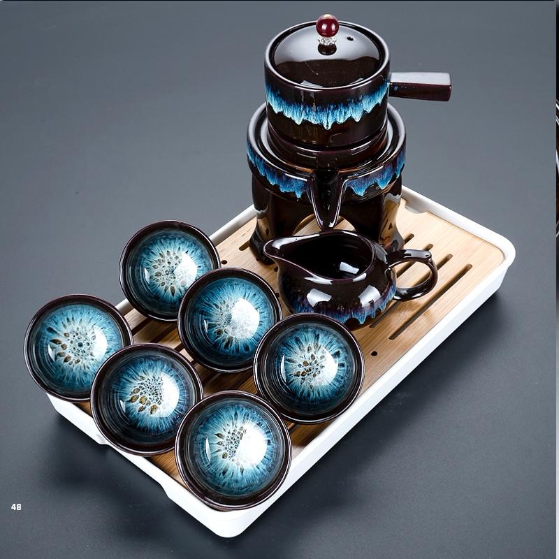 功夫茶具茶杯套装家用客厅石磨懒人泡茶器窑变陶瓷建盏茶壶小茶盘